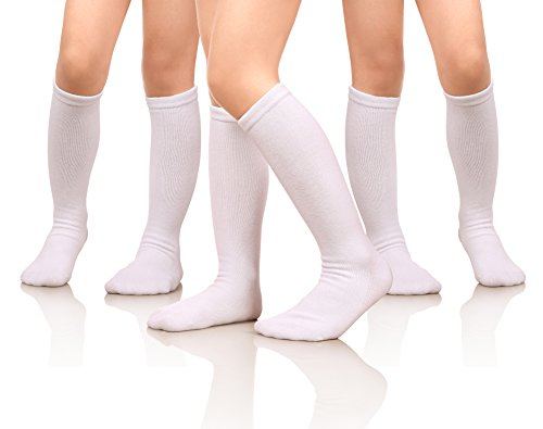 MIUBEAR Girls Cotton Knee High Socks School Girls Uniform Soccer Sport Socks 3-13 Years Old Pack Of 3 (L - 9-13 Years - US Shoe - 2-5, Pack Of 3 White)