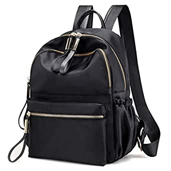Qyoubi Women's Waterproof Oxford Small Black Fashion Backpack Purse School Girls Multipurpose Bag Casual Daypack