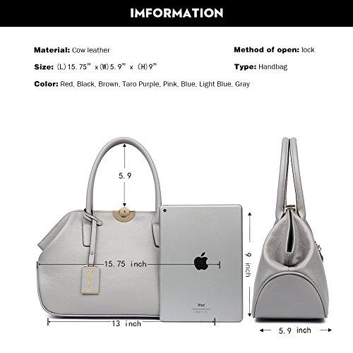 Shoulder Taro Leather Purple gray Satchel Handbag BOSTANTEN 5 Top Bag Women Handle Designer TUwHx05q