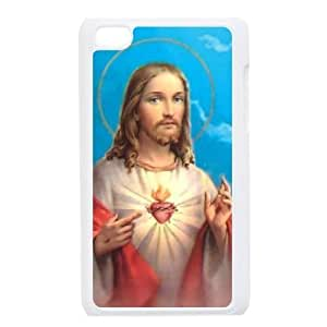 Durable Phone Case Ipod Touch 4 Cell Phone Case White Christ Jesus cross Bnhjo Plastic Durable Cover