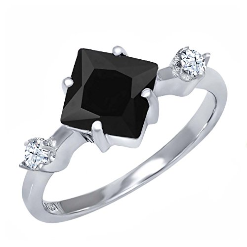 Gem Stone King 1.60 Ct Princess Cut Black Onyx 925 Sterling Silver Women's Ring (Size 6)