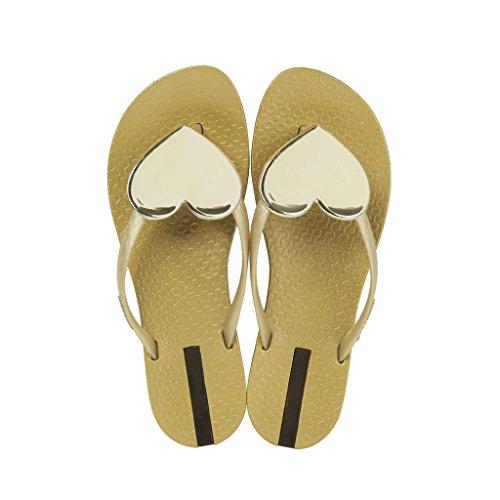 Or EU39 féminin taille Pantoufles en style SHOP bas CN39 Couleur plat XIANG UK6 LI plage tongs de romaine été Décoration SHI 0 coeur chaussures forme Gris q64w1