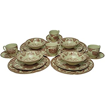 Johnson Brothers Old Britain Castles 20-Piece Dinnerware Set Pink  sc 1 st  Amazon.com & Amazon.com | Churchill Blue Willow Plates Bowls Cups 20 Piece ...