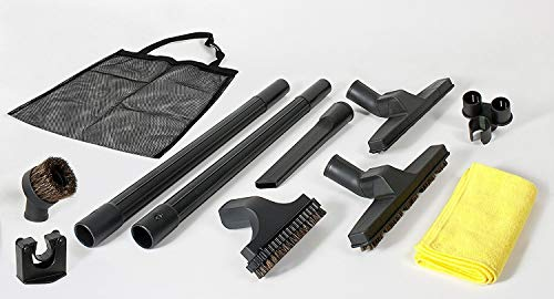 10 Piece Deluxe Central Vacuum Cleaning Tools Accessory/Attachment Set: Floor Brush, Dusting Brush, Crevice Tool, Rug Tool