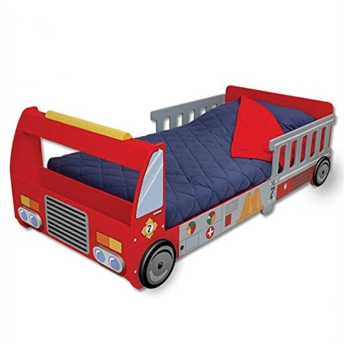 Rosebery Kids Fire Truck Toddler Bed in Red