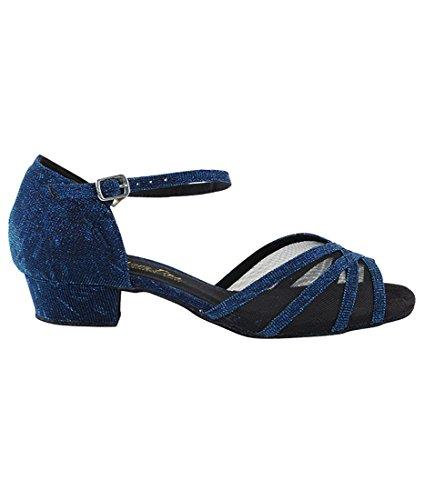Chaussures De Danse De Pratique De Salsa Très Fine Salle De Bal Pour Les Femmes 6027ft Talon De 1 Pouce + Bundle De Pinceau Pliable Bleu Paillettes Satin