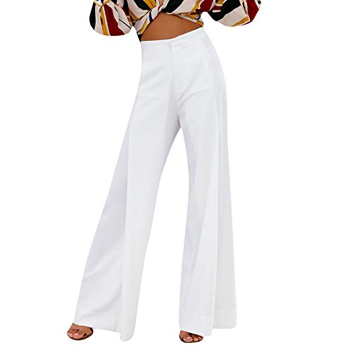 Women 's Trousers LuluZanm Summer Loose Stretch Pants Ladies High Waist Wide Leg Long Pants Palazzo Trousers White ()