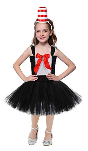 SanLai Halloween Circus Ringmaster Costumes for Girls Birthday Lion Tamer Tutu Dress for Toddler Kids with Headband 11-12Y -