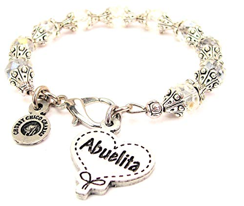 (ChubbyChicoCharms Abuelita Quilted Heart Scroll Capped Crystal Bracelet in White)