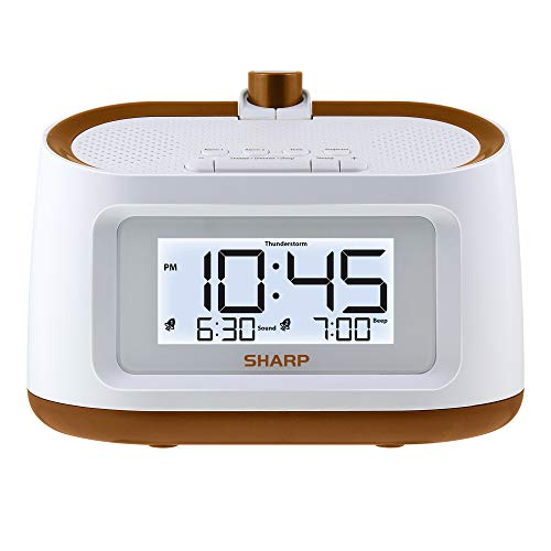 Sharp Projection Alarm Clock with Soothing Nature Sleep Sounds - Easy to Read Projection on Wall or Ceiling - 8 Sleep Sounds to Help Fall Asleep Faster