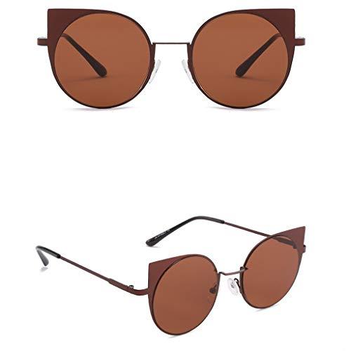 Marron lunettes De Métal Retro homme Lunette Soleil Oeil Guesspower Femme Chat Soleil Et En Exq0OS