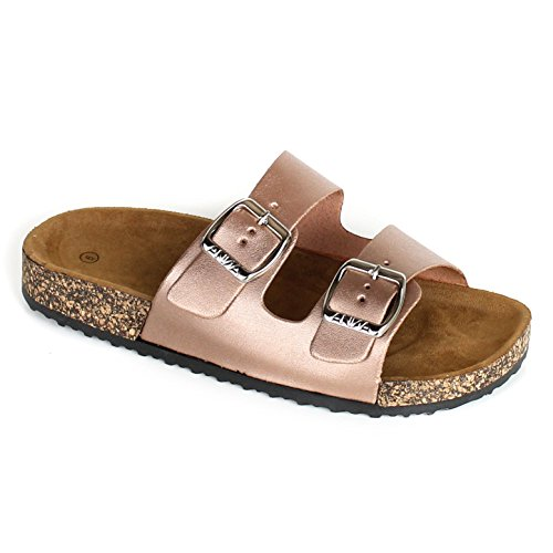 Womens Slide Buckle T-Strap Cork Footbed Platform Flip Flop Shoes Sandals Rose Gold xXeY6MWDI