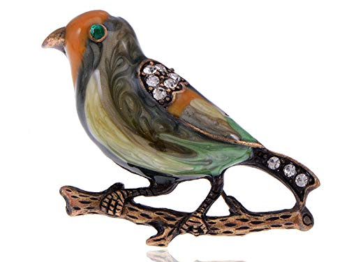 Vintage Repro Crystal Rhinestone Enamel Sparrow Bird Costume Jewelry Pin Brooch]()