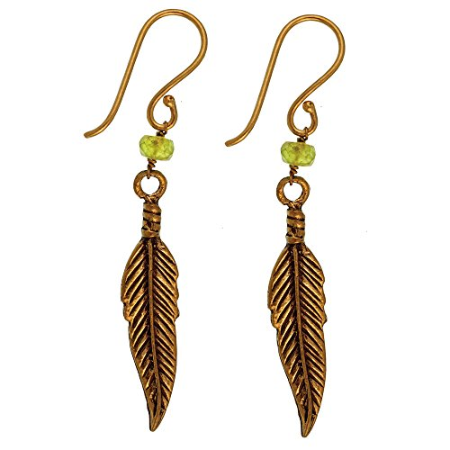 Boucles d'oreilles pierre plumes vert laiton antique boucles d'oreille golden tribal