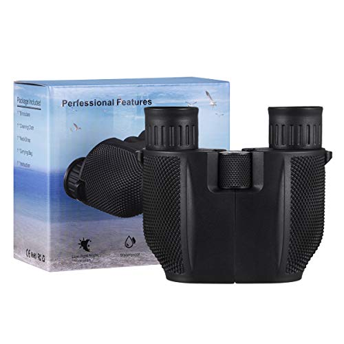 SnowCinda Compact Binoculars for Adults/Kids, Weak Light Night Vision Clear with 10x25 HD Roof Prism Folding Binoculars for Bird Watching, Outdoor Hunting, Traveling, Sightseeing