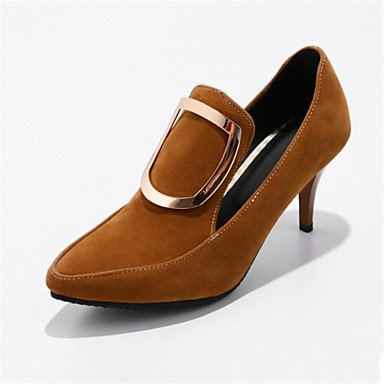 LvYuan-GGX Damen High Heels Neuheit Neuheit Heels Formale Schuhe maßgeschneiderte Werkstoffe Kunstleder Frühling Herbst Kleid Neuheit Formale Schuhe Gerafft, Yellow, us7.5 / eu38 / uk5.5 / cn38 - f7fb02