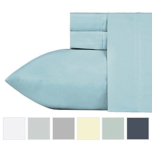 400 Thread Count 100% Cotton Sheet Set, Blue Queen Sheets 4 Piece Set, Long-staple Combed Pure Natural Cotton Bedsheets, Soft & Silky Sateen Weave by California Design Den