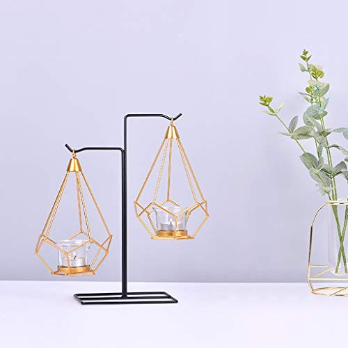Maikouhai Metal Geometry Candlestick Creative Gift Night Hanging Table Candle Holder Home Decor for Weddings, Parties, Dinner, Graduation Gathering, Gold (C -