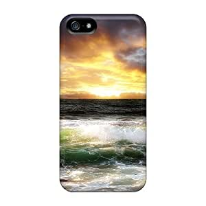 Waterdrop Snap-on Green Waves At Sunset Hdr Case For Iphone 5/5s