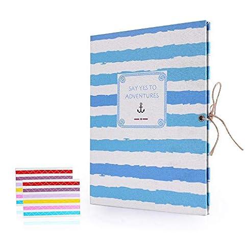 - 41SmDJZ3ZYL - EKKONG Photo Album Scrapbook,Vintage Black Pages Memory Book,Wedding Photo Album,Anniversary Scrapbook,Travel Album (Anchor)