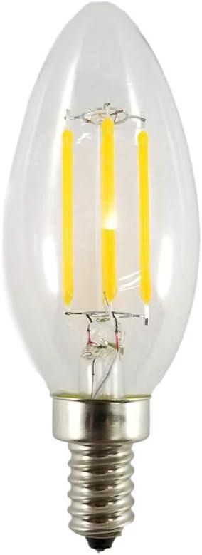 Low Voltage 12V AC//DC 250 Lumen 4 Watts Magic Lighting Vintage Filament Style Candelabra LED Bulb E12 Base C12 Flame Tip 2700K Warm White
