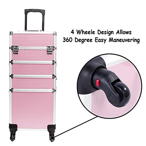 Professional Makeup Case with Wheels, 4 in 1 Aluminum Rolling Makeup Train Case Trolley Cosmetic Organizer Travel Brush Bag Holder with DIY Adjustable Divider & Key Lock