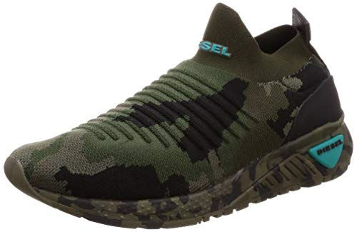 Diesel Men's SKB S-KB ATHL Sock Sneaker Camouflage/Military Green 10.5 M US