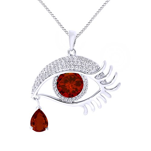 Jewel Zone US Angel Eye Teardrop Simulated Garnet Pendant Necklace in 14K White Gold Over Sterling Silver