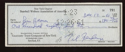1961 BB Writers Ass Check to Jim Hearn Endorsed