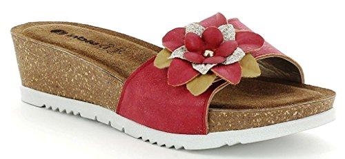 INBLU - Sandalias de vestir de piel sintética para mujer rojo rojo 35
