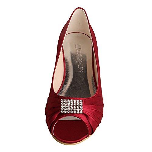 Wedopus MW1361 Rhinestones Wedding Peep Toe Women Ballet Flats Buckle Satin Bridal Shoes Wine Red nNlgr1