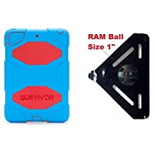 "SlipGrip RAM 1"" Ball Compatible Mount Designed For iPad Mini 1 & 2 & 3 Tablet Griffin Survivor All-Terrain Case"