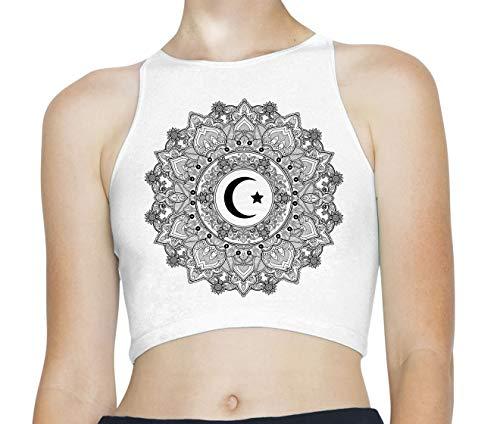 Tribal T-Shirts Islamic Crecent Moon Mandala Sleeveless High Neck Crop Top (Large, White)]()