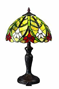 Z-Lite Z12-21TL Magnolia One Light Table Lamp, Metal Frame, Chestnut Bronze Finish and Multi Color Tiffany Shade of Glass Material