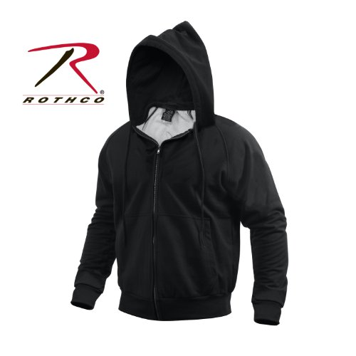 Med Long Sleeved (Rothco Thermal Lined Zipper Hoodie, Black,)