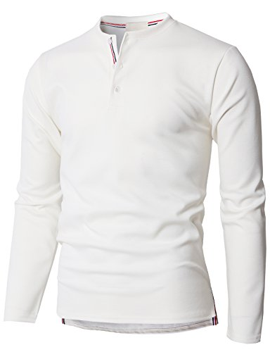 H2H Mens Casual Basic Henley Neck Long Sleeve T-Shirts White US L/Asia XL (KMTTL0468)