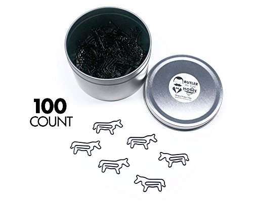 Butler in the Home Horse Shaped Paper Clips Great For Paper Clip Collectors or Office Gift - Comes in Round Tin with Lid and Gift Box (100 Count Black) by Butler in the Home
