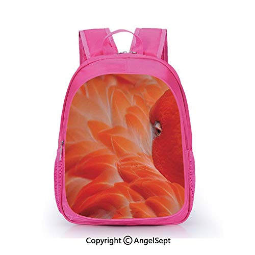 Hot Sale Backpack Casual Daypack,Flamingo Feathers Fuzzy Waterbird Graceful Animal Closeup Wildlife Scenic Picture Orange,15.7inch,Travel Outdoor Backpack For Boys And Girls]()