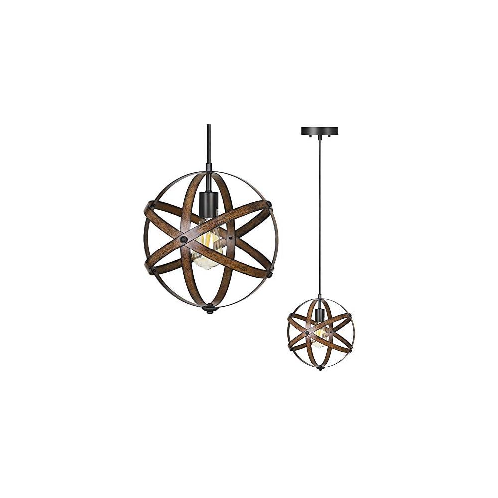DEWENWILS Industrial Metal Pendant Hanging Light, Wood Grain Metal Spherical Cage Globe Vintage Ceiling Chandelier Foyer…