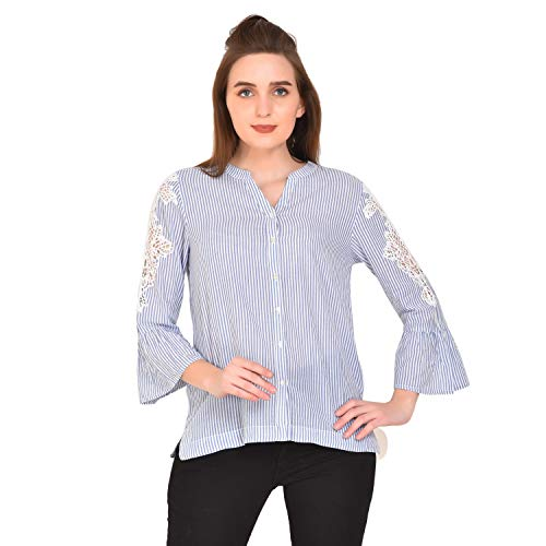 MansiCollections Striped Blue White Top with Lace for Women