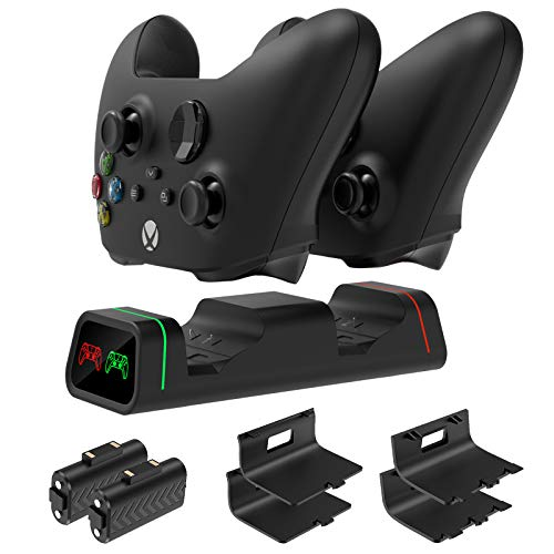 FYOUNG Dual Controller Charger Station for Xbox One/One X/One S Controller, Charging Dock Kits with 2 x 800mAh Rechargeable Battery Packs