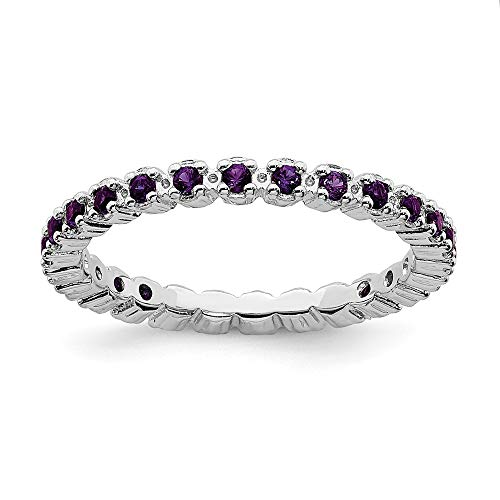925 Sterling Silver Purple Amethyst Band Ring Size 7.00 Stone Stackable Gemstone Birthstone February Fine Jewelry Gifts For Women For Her