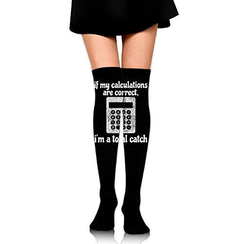 Math Calculator Cotton Thick Long Soccer Socks For Women & Girls - Best For Hiking, Medical, Soccer, Football, Nursing, Travel & Flight Socks