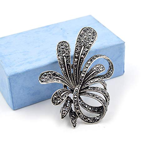 wer Brooches for Women Vintage Antique Silver Brooch Pin Elegant Exquisite Broches New Year Gift ()