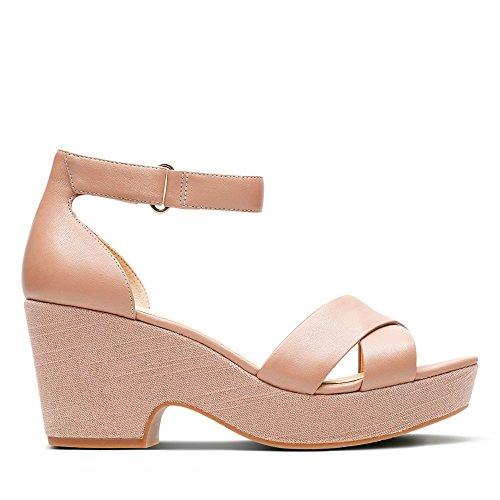 Clarks Maritsa Ruth Womens Wide Fit Heeled Sandals Beige