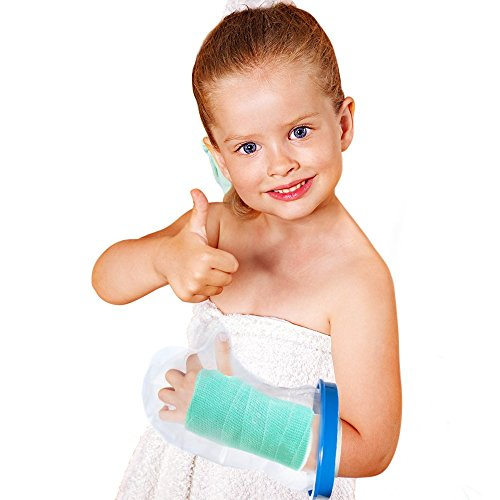 Kids Arm Cast Cover with Waterproof Seal Protection. Keep Casts & Bandages Totally Dry for Shower, Bathing Or Swimming. Heavy Duty Vinyl is Durable Yet Lightweight and Reusable. (Half Arm)