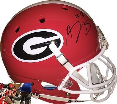 AJ Green signed Georgia Bulldogs Schutt Full Size Replica Helmet #8- Hologram - JSA Certified - Autographed College Helmets