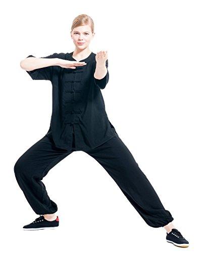 ICNBUYS Women's Tai Chi Uniform Cotton Half Sleeve Summer M Black