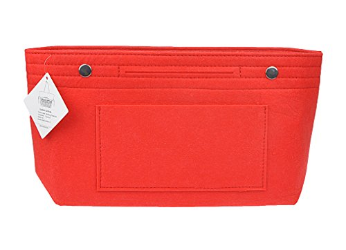 (Vercord Felt Tote Handbag Purse Pocketbook Organizer Insert Divider Shaper Bag in Bag, Normal-Red)