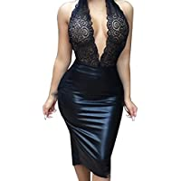 Allegrace Women Sexy Luxury Lace Halter Neck Banquet Cocktail Prom Party Dresses